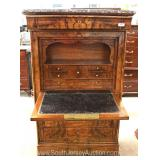 ANTQUE Burl Walnut Marble Top Abbatant in the Biedermeier Style Fall Front Desk Located Inside – Auc