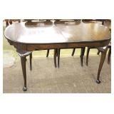 "SOLID Mahogany Queen Anne Oval Dining Room Table with 3 Leaves by ""Kittinger Furniture"" Located Insi"