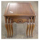 """Set of 3"" Burl Walnut French Style Snack Tables by ""Drexel Furniture"" Located Inside – Auction Esti"