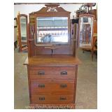 ANTIQUE Mahogany Washstand with Tri Section Mirror Located Inside – Auction Estimate $100-$300