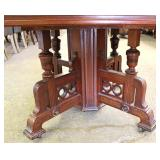 ANTIQUE Walnut Victorian Dining Room Table with Fancy Victorian Base and 5 Leaves (approximately 5'x