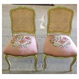 PAIR of  VINTAGE Needlepoint French Style Music Chairs Located Inside – Auction Estimate $100-$200