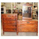 Numerous Burl Mahogany High and Low Chest (Mirrors with these Low Chest) Located Inside – Auction Es