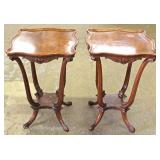 PAIR of Burl Walnut Carved Lamp Tables Located Inside – Auction Estimate $100-$200