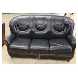 2 Piece Black Leather Mahogany Frame Living Room Sofa with Sleeper and Loveseat Located Inside – Auc