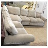 LIKE NEW Contemporary 3 Piece Sectional Micro Fiber Sofa with Tags Located Inside – Auction Estimate