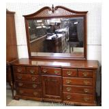 Cherry Low Dresser with Fancy Pierced Carved Mirror Located Inside – Auction Estimate $200-$400