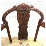 BEAUTIFUL ANTIQUE Fancy Carved Mahogany Needlepoint Ball and Claw Chair Located Inside – Auction Est