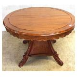 7 Piece SOLID Mahogany Very Good Condition Breakfast Table with 2 Leaves and 6 Carved Chairs Located