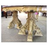 "8 Piece Italian Highly Carved ""Roma"" Style Dining room Set with Burl Walnut Banded Dining Room Table"