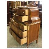 Walnut Depression Two Tone Carved High Chest Located Inside – Auction Estimate $200-$400