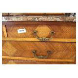 ANTIQUE French Continental Fancy Marble Top Dresser with Tri Fold Mirror Located Inside – Auction Es
