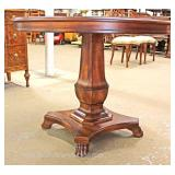 5 Piece Contemporary Mahogany Breakfast Table with 4 Spider Web Carved Back Chairs with Table Pads a