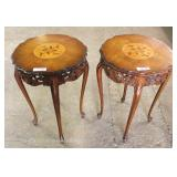 PAIR of Mahogany French Style Inlaid and Banded Carved Lamp Tables Located Inside – Auction Estimate