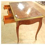 QUALITY Bronze Mounted French Writing Desk with Parquet Top and Custom Glass Top Located Inside – Au