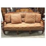 Contemporary Mahogany Carved Frame Upholstered Sofa with Throw Pillows Located Inside – Auction Esti