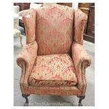 "Upholstered Wing Back Ball and Claw Chair by ""Bancroft and Bliss"" Located Inside – Auction Estimate"