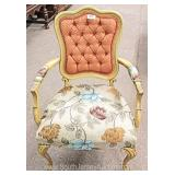 PAIR French Style Upholstered Button Tufted Carved Arm Chair Located Inside – Auction Estimate $100-