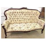 2 Piece Upholstered Button Tufted Carved Frame Sofa and Loveseat in the Victorian Style Located Insi