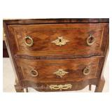 PAIR of ANTIQUE PERIOD French Marble Top 2 Drawer Mahogany Inlaid and Banded Night Stand with Applie