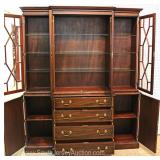 "SOLID Mahogany 4 Door China Cabinet by ""Henkel Harris Furniture"" Located Inside – Auction Estimate $"