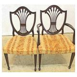 """Set of 5"" SOLID Mahogany Shield Back Dining Room Chairs by ""Baker Furniture"" Located Inside – Aucti"