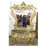 FANCY French Highly Carved and Ornate Marble Top Console with Mirror Located Inside – Auction Estima