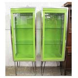 PAIR of Medical Style Modern Industrial Look Curios in a Nice Desirable Green Finish