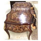— ELABORATE –  Quality Executive Desk in the French Style, Highly Inlaid  with Exotic Woods and App