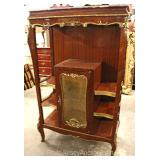 French Style Marble Top Mahogany Inlaid Étagère Curio with Applied Bronzes