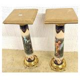 — NICE MODEL —  PAIR of French Style Porcelain, Bronze, and Marble Pedestals in the manner of Serve