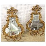 PAIR of French Style Gold Gilt Highly Carved Mirrors with Candle Holders  Located Inside – Auction