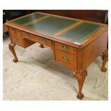 "Mahogany Ball and Claw Green Leather Top 4 Drawer Executor Desk  by ""Hekman Furniture"" Grand Rapids"