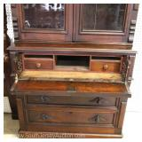 ANTIQUE 2 Piece Walnut Victorian Butler Desk with Bookcase Top in Original Finish