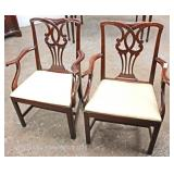9 Piece Mahogany Bow Front Dining Room Set with 6 Chippendale Style Dining Room Chairs