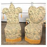 — VERY COOL –  Decorator Cherub Pattern Upholstered King of Clubs and Queen of Hearts Chairs