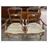 7 Piece Country French with Plank Top Distressed Farm Table with 6 Carved Rush Bottom Chairs