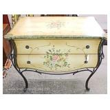Painted Decorated 2 Drawer with Iron Frame Server