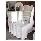 4 Piece Youth White Contemporary Carved Twin Sleigh Bed Bedroom Set  includes Twin Bed