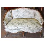 VINTAGE Walnut Frame Carved Settee