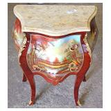French Style Paint Decorated Marble Top Bed Side Stands with Applied Bronze