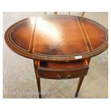 PAIR Leather Top Mahogany Inlaid 1 Drawer Pembroke Tables