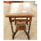 ANTIQUE Walnut Marble Top Victorian Lamp Table