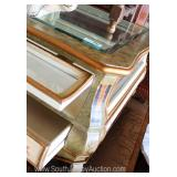 Contemporary Paint Decorated Display Glass Top and Glass Sides  Shadow Box Coffee Table with Double