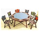 — VERY COOL – QUALITY —   ANTIQUE Oak Arts and Crafts Style Poker Table Set  with UNIQUE Hand Hamme