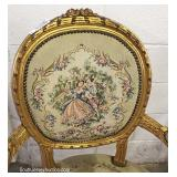 """""""Set of 6"""" French Style Dining Room Chairs with Needlepoint Medallion Back and Seats"""