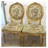 """Set of 6"" French Style Dining Room Chairs with Needlepoint Medallion Back and Seats"