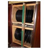"""ANTIQUE Mahogany Victor Player Record Cabinet with Records by """"Pooley Record Cabinet, Phila., PA"""""""