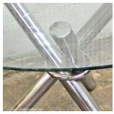 5 Piece Mid Century Modern Glass Top with 4 Fiberglass Chairs