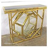 Mid Century VINTAGE 3 Piece Brass and Glass Bar with Matching 2 Bar Stools